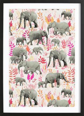 Sweet Elephants in Pink Orange Affiche sous cadre en bois