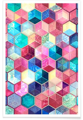 Topaz and Ruby Cubes Pattern Poster