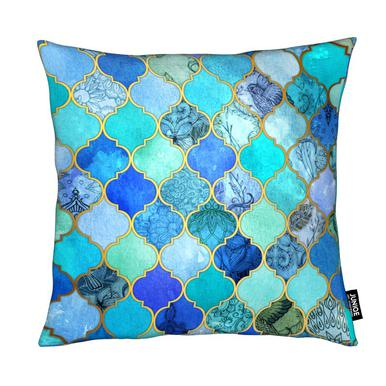 Cobalt Moroccan Tile Pattern Micklyn Le Feuvre Cushion