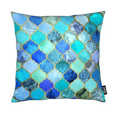 Cobalt Moroccan Tile Pattern Cushion