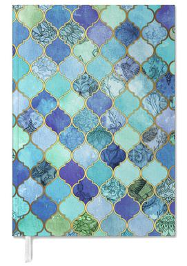 Cobalt Moroccan Tile Pattern Personal Planner