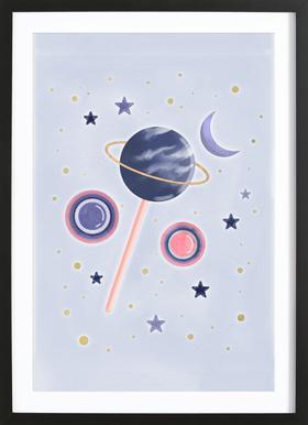 Lollipop Planet Poster im Holzrahmen