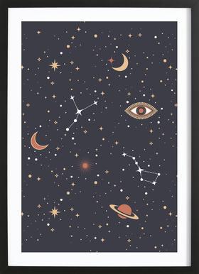 Mystical Galaxy -Bild mit Holzrahmen