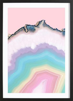 Rainbow Agate Poster im Holzrahmen