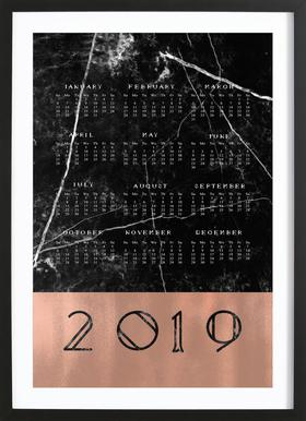2019 Black Marble Edition Poster im Holzrahmen