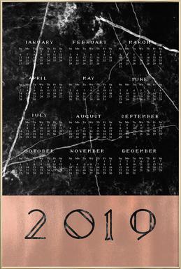 2019 Black Marble Edition -Poster im Alurahmen