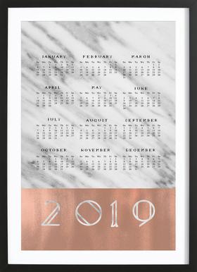 2019 Marble Edition White Poster im Holzrahmen