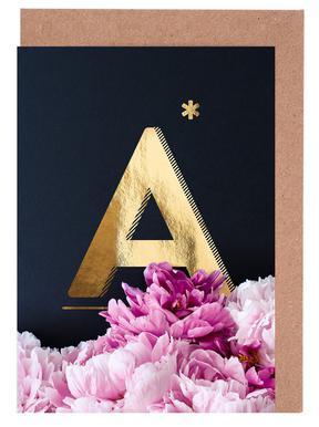 Flower Alphabet A Set de cartes de vœux