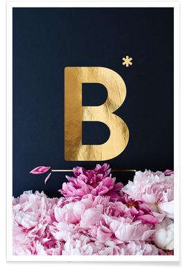 Flower Alphabet B Poster