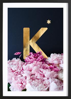Flower Alphabet K Poster in Wooden Frame