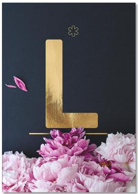 Flower Alphabet L Notizbuch