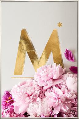 Flower Alphabet M Affiche sous cadre en aluminium