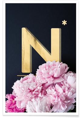 Flower Alphabet N Poster