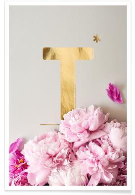 Flower Alphabet T affiche
