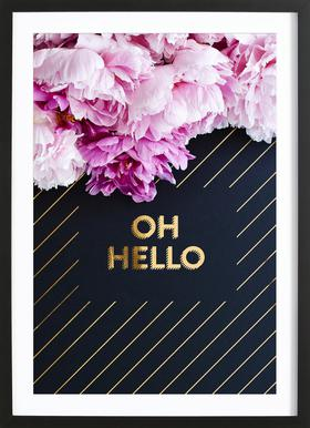 Oh Hello Flowers Poster in Wooden Frame