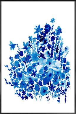 Floral Blue -Bild mit Kunststoffrahmen