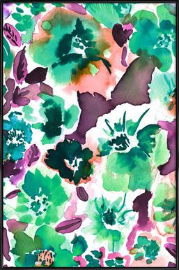 Zoe Floral Ocean Green -Bild mit Kunststoffrahmen