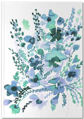Amelia Floral Blue Green Notitieboekje