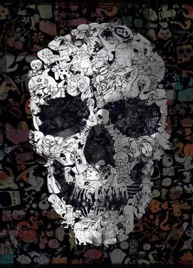 Doodle Skull Leinwandbild