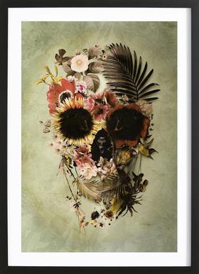 Garden Skull Light Poster in Wooden Frame