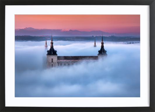 Toledo City Foggy Sunset Jesus M Garcia As Poster In Wooden Frame