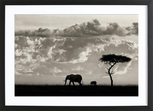 Silhouettes of Mara - Mario Moreno Affiche sous cadre en bois