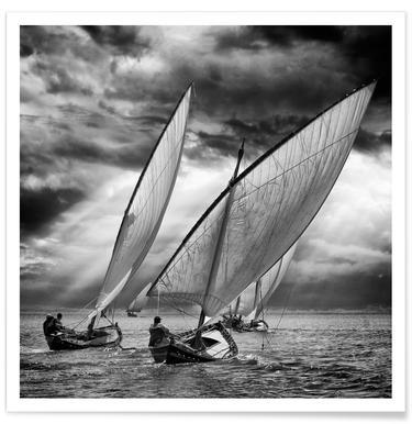 Sailboats And Light - Angel Villalba Affiche