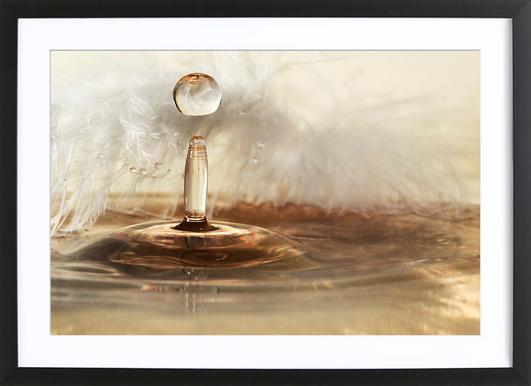 Golden Feather Drops Framed Print