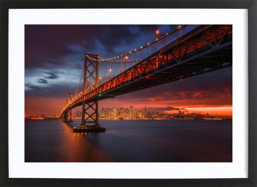 Fire over San Francisco Poster im Holzrahmen