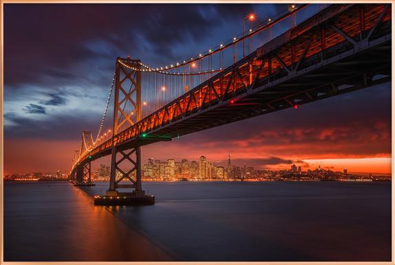 Fire over San Francisco -Poster im Alurahmen