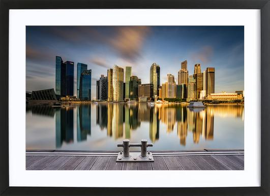 Golden Morning in Singapore Poster im Holzrahmen