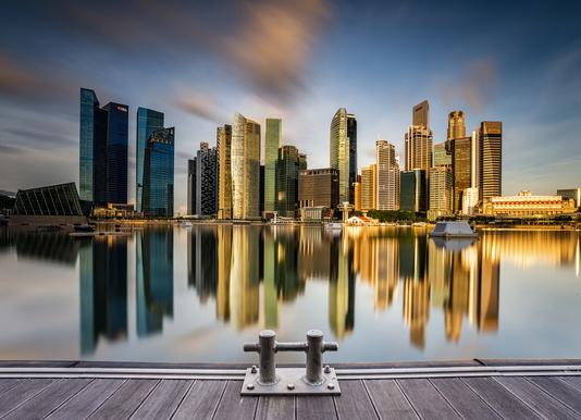 Golden Morning in Singapore -Leinwandbild
