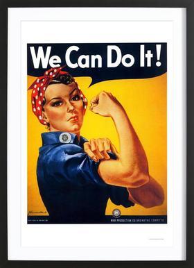 We Can Do It affiche sous cadre en bois