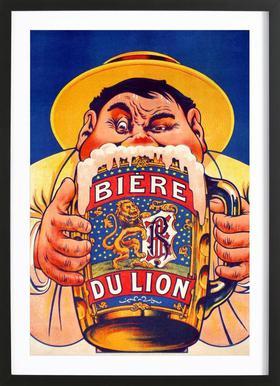 Biere Du Lion affiche sous cadre en bois