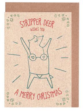 stripper deer patricia mafra greeting card set - Buy Greeting Cards Online