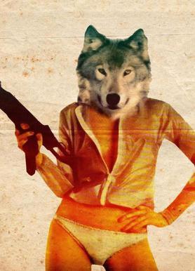Wolf Girl canvas doek