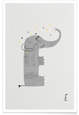 Tier-Alphabet E Poster
