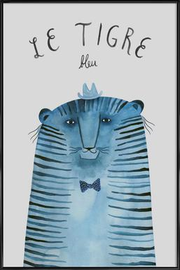 French Animals Tigre Affiche sous cadre standard