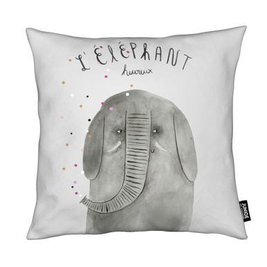 French Animals Elefant Cushion
