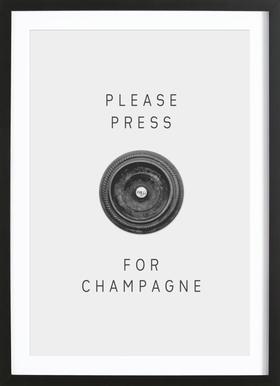 Please Press Poster im Holzrahmen