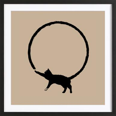 Cat Circle Poster in Wooden Frame