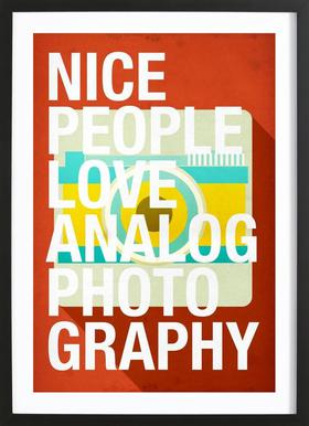 Nice people love analog photos Poster in Wooden Frame