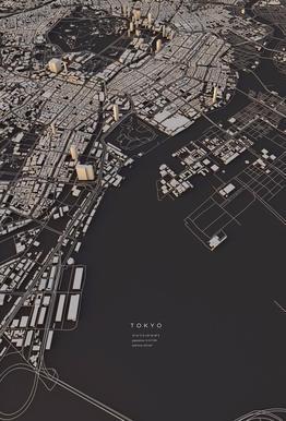 Tokyo City Map alu dibond