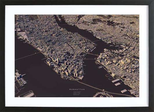 Manhattan City Map II -Bild mit Holzrahmen