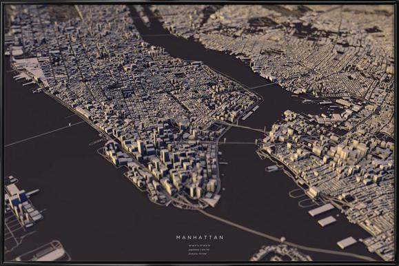 Manhattan City Map II Poster im Kunststoffrahmen