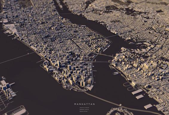 Manhattan City Map II -Acrylglasbild