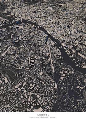 London City Map Impression sur toile