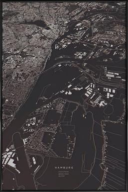 Hamburg City Map Affiche sous cadre standard