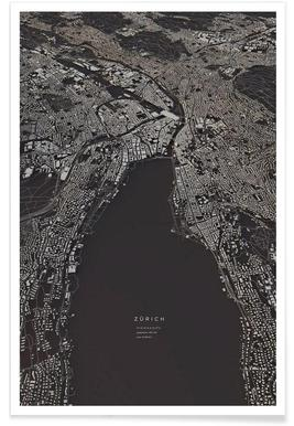 Zürich-3D-Stadtkarte Poster