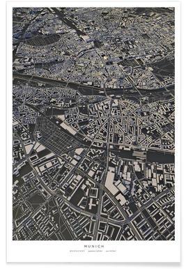 Munich : carte urbaine en 3D Affiche